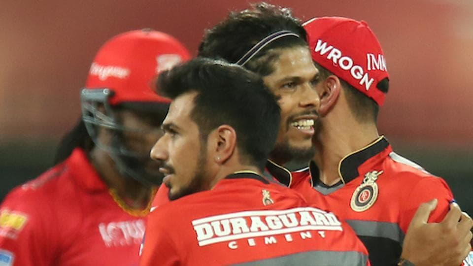 Umesh Yadav of the Royal Challengers Bangalore celebrates the wicket of Chris Gayle of the Kings XI Punjab.