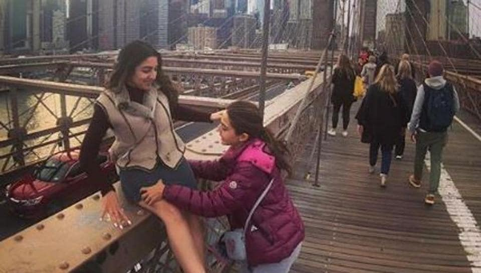 Sara Ali Khan and a friend pose in New York City.
