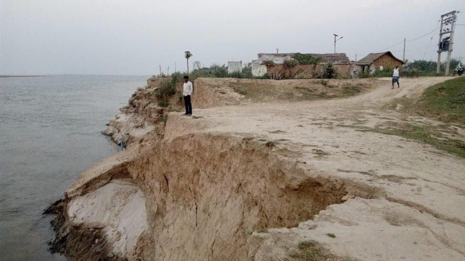 Land erosion caused by river Ganga.