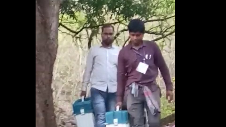 An alternative but tortuous route was quickly chalked out by the police officials. It was decided that the polling officials would take a detour and walk through a mountain so as to give the Maoists a slip