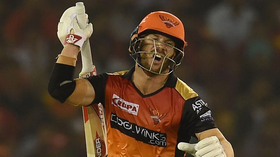 Sunrisers Hyderabad batsman David Warner reracts after playing a shot during the 2019 Indian Premier League (IPL) Twenty20 cricket match between Kings XI Punjab and Sunrisers Hyderabad at the Punjab Cricket Association Stadium in Mohali on April 8, 2019.