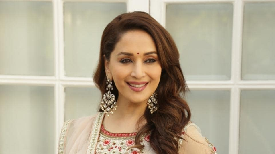 Madhuri Dixit at a photo shoot during the promotions for Kalank in New Delhi, on April 13.