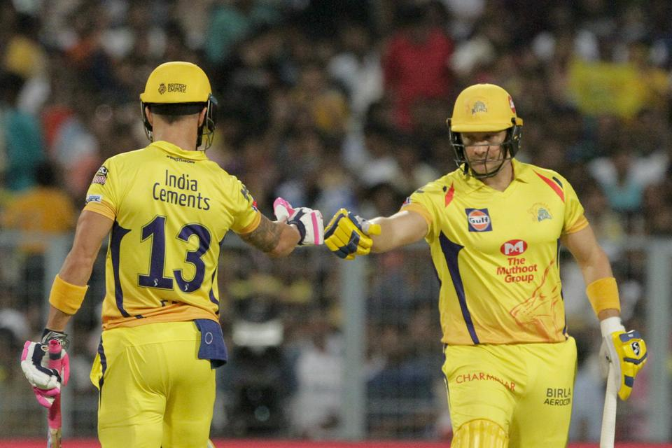 Chennai Super Kings' Faf du Plessis, left and Shane Watson encourage each other during the IPL cricket T20 match against Kolkata Knight Riders in Kolkata. (AP)