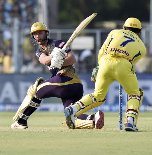 Kolkata:Kolkata Knight Rider(KKR) cricketer Chris Lynn during the Indian Premier League 2019 (IPL T20) cricket match between Chennai Super Kings and Kolkata Knight Riders (KKR)at Eden Gardens. (PTI)