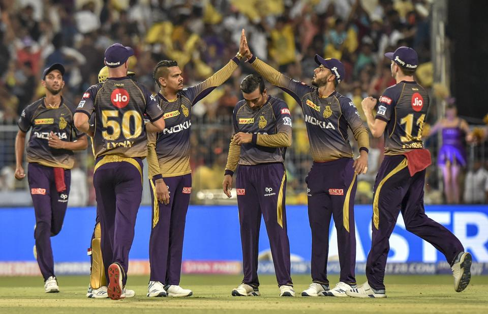 Kolkata: KKR players celebrate after dismissing Faf Du Plessis during the Indian Premier League 2019 (IPL T20) cricket match between Kolkata Knight Rider (KKR) and Chennai Super King(CSK) at Eden Gardens. (PTI)