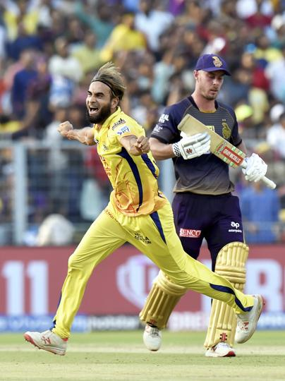 Kolkata: CSK bower Imran Tahir celebrates after dismissing Chris Lynn during the Indian Premier League 2019 (IPL T20) cricket match between Kolkata Knight Rider (KKR) and Chennai Super King (CSK) at Eden Gardens. (PTI)