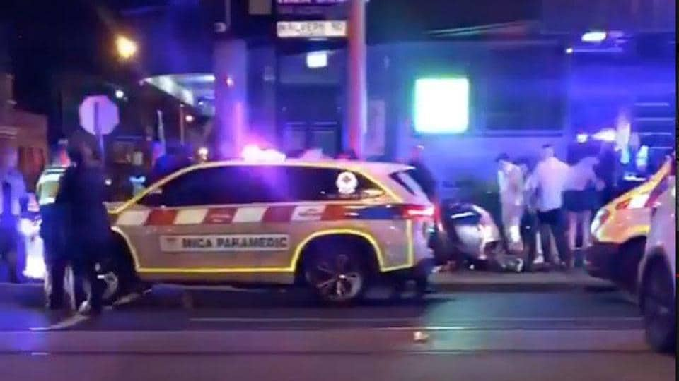 Police and rescue services are seen following a shooting incident outside a nightclub in  Melbourne, Australia on  April 14/