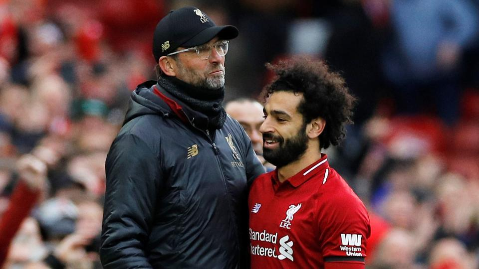 Jurgen Klopp with Mohamed Salah at the end of the match.
