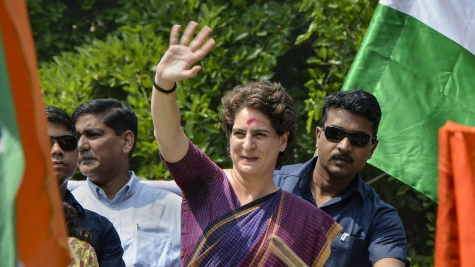 Congress General Secretary Priyanka Gandhi takes part in a roadshow, during the ongoing general elections, at Silchar, Assam on Sunday.