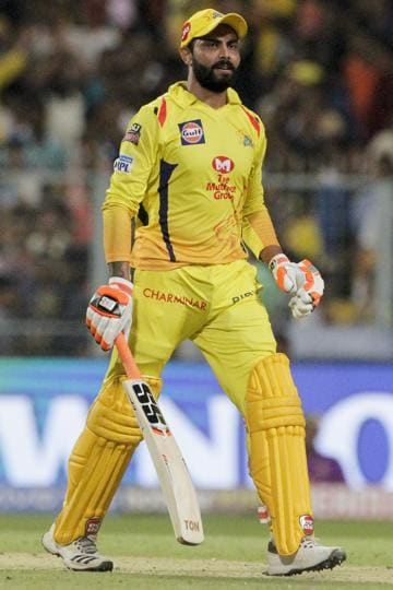 Chennai Super Kings' Ravindra Jadeja gestures after making the winning shot against Kolkata Knight Riders during the VIVO IPL cricket T20 match in Kolkata. (AP)