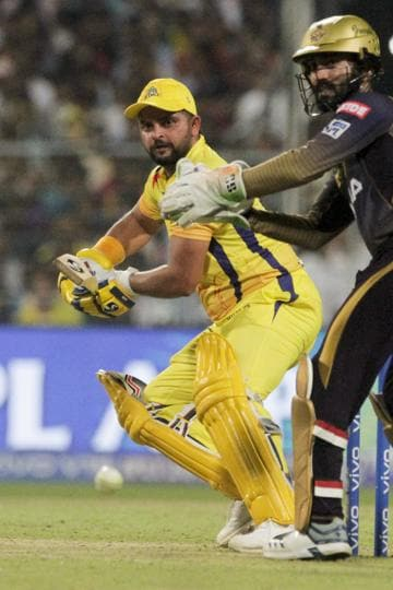 Chennai Super Kings' Suresh Raina plays a shot during the VIVO IPL cricket T20 match against Kolkata Knight Riders in Kolkata. (AP)
