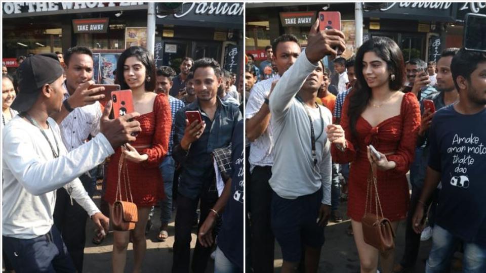 Khushi Kapoor outside Bastian in Mumbai.