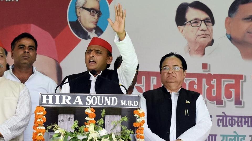 Samajwadi Party president Akhilesh Singh Yadav at an election rally in Moradabad.
