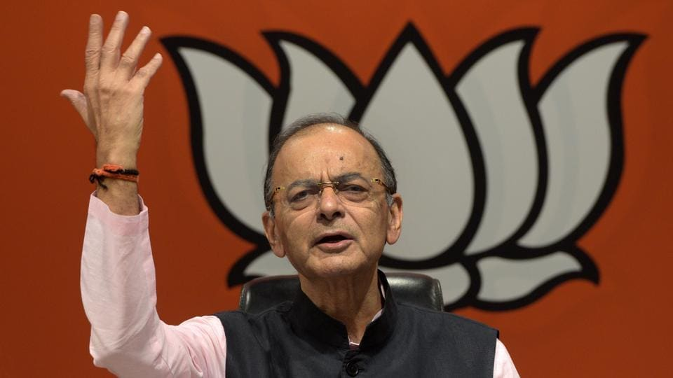 Jaitley addresses a press conference at BJP headquarters in New Delhi on  April 2. (Photo by Mohd Zakir/ Hindustan Times)