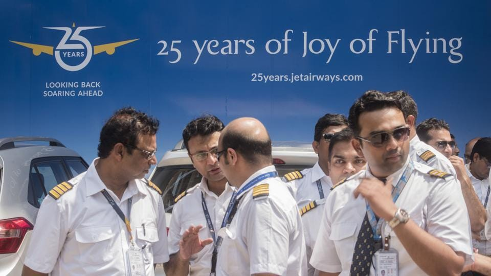 On Monday, Jet Airways pilots body, the National Aviator's Guild, appealed the State Bank of India to release Rs 1,500 crore, which was proposed to be infused in the ailing carrier as part of a debt-restructuring plan last month. The airline is operating just 6-7 planes, with almost its entire fleet grounded due to non-payment of rentals to lessors amid severe paucity of cash. (Satyabrata Tripathy / HT Photo)