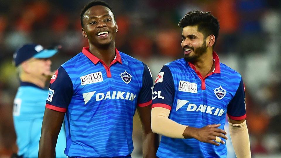 Delhi Capitals bowler Kagiso Rabada and captain Shreyas Iyer celebrate against Sunrisers Hyderabad.