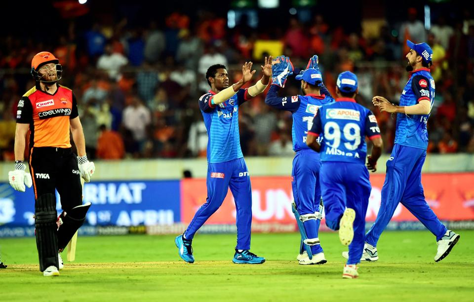 Hyderabad: Delhi Capitals (DC) bowler Keemo Paul celebrate with team mates after taking the wicket of SH batsman Jonny Bairstow (L) during the Indian Premier League 2019 (IPL T20) cricket match between Sunrisers Hyderabad (SH) and Delhi Capitals (DC) at Rajiv Gandhi International Stadium in Hyderabad. (PTI)