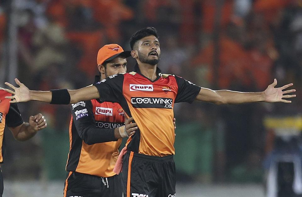 Sunrisers Hyderabad's Khaleel Ahmed, celebrates the dismissal of Delhi Capitals Shikhar Dhawan during the IPL T20 cricket match between Sunrisers Hyderabad and Delhi Capitals in Hyderabad. (AP)