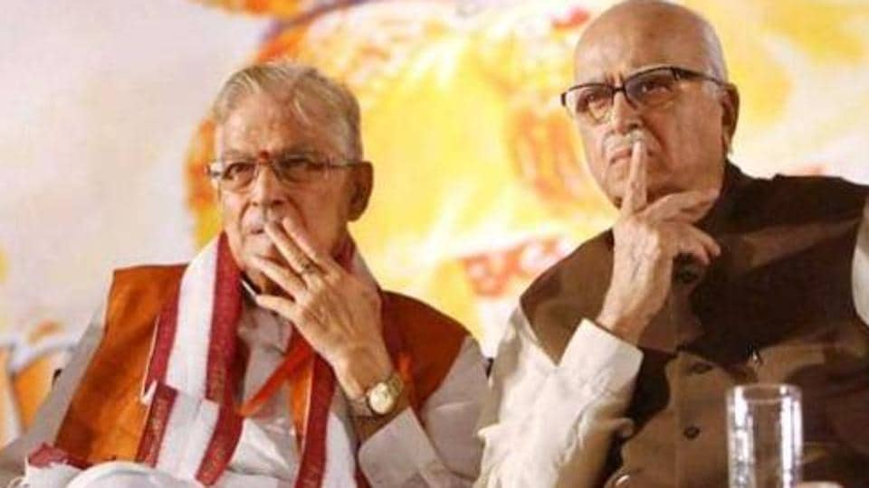 Senior BJP leaders LK Advani, Murli Manohar Joshi seated during the party's National Council Meeting at Surajkund, Faridabad.