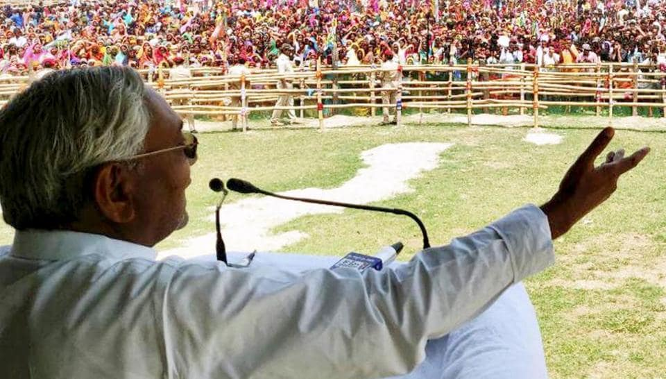 Bihar Chief Minister Nitish Kumar addresses an election campaign rally in Purnia.