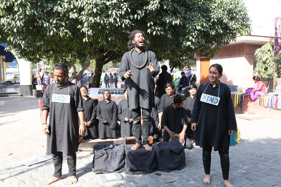 Abhinay, the dramatics society of Maharaja Agrasen College, presented their street play Ab, Normal, which talked about patriarchy, gender inequality and feminism.