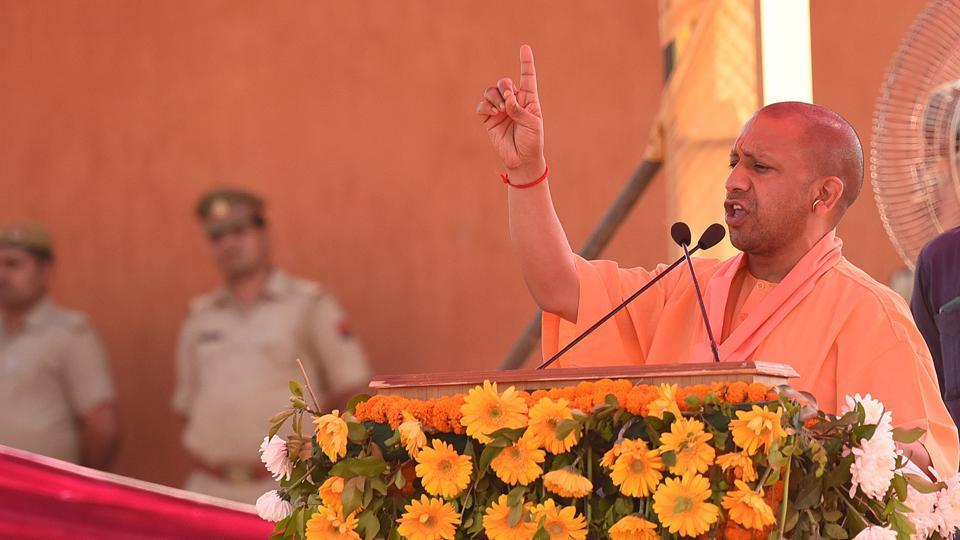 UP chief minister Yogi Adityanath during the public rally at Bisada in Dadri, Uttar Pradesh, on  March 31.