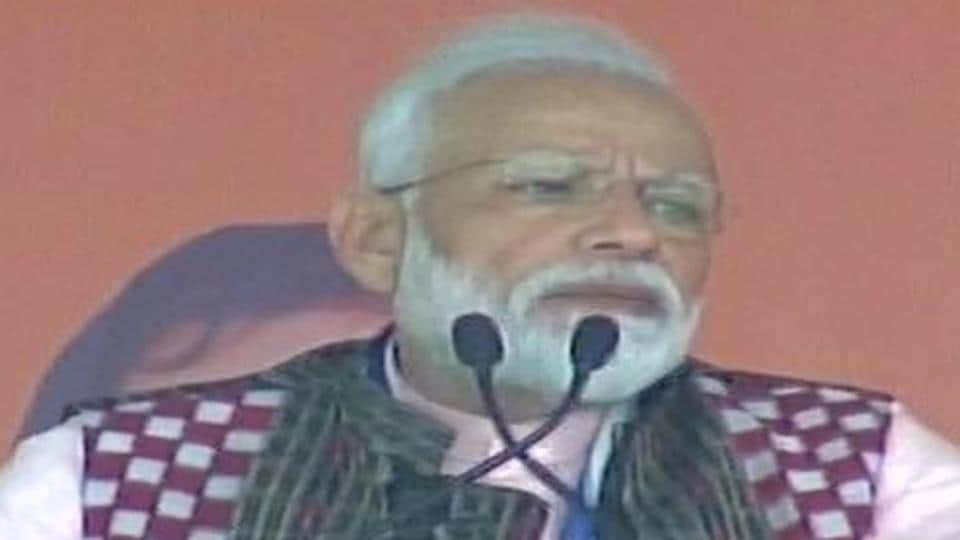 Prime Minister Narendra Modi addressing a public rally at Sambalpur in Odisha on Tuesday.