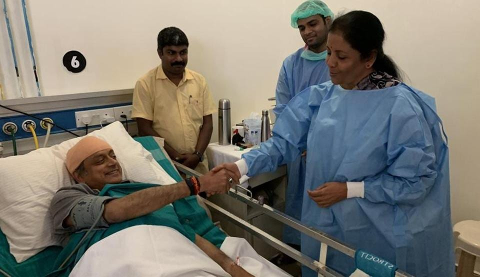 shashi tharoor,visitor,hospital