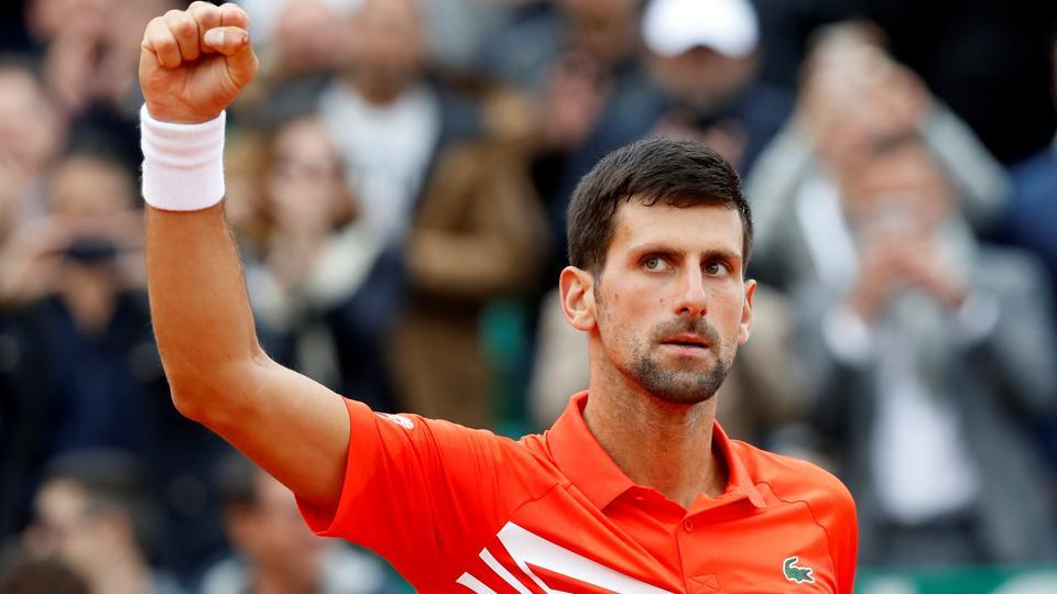 Serbia's Novak Djokovic celebrates winning his second round match against Germany's Philipp Kohlschreiber.