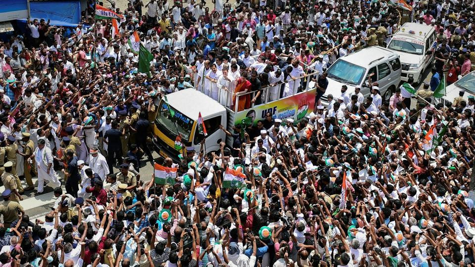 BJP president Amit Shah had  referred to the IUML's green flags in Wayanad during Rahul Gandhi's road show and said it was difficult to make out whether it was in  India or Pakistan.