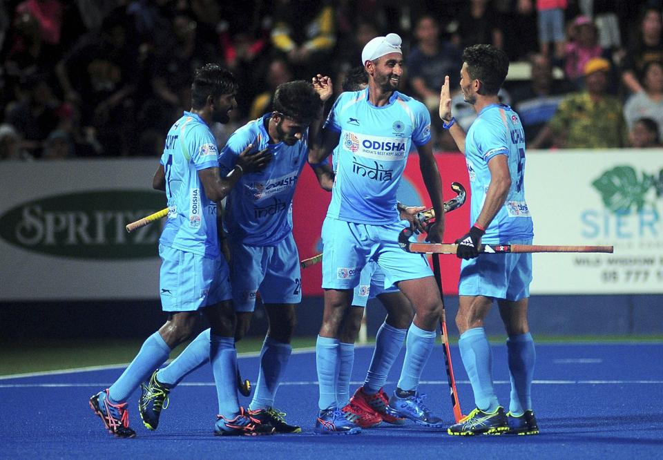 Indian Men's Hockey players celebrate their win over Malaysia 4-2 in an exciting encounter at the 28th Sultan Azlan Shah Cup 2019 in Ipoh, Tuesday, March 26, 2019.