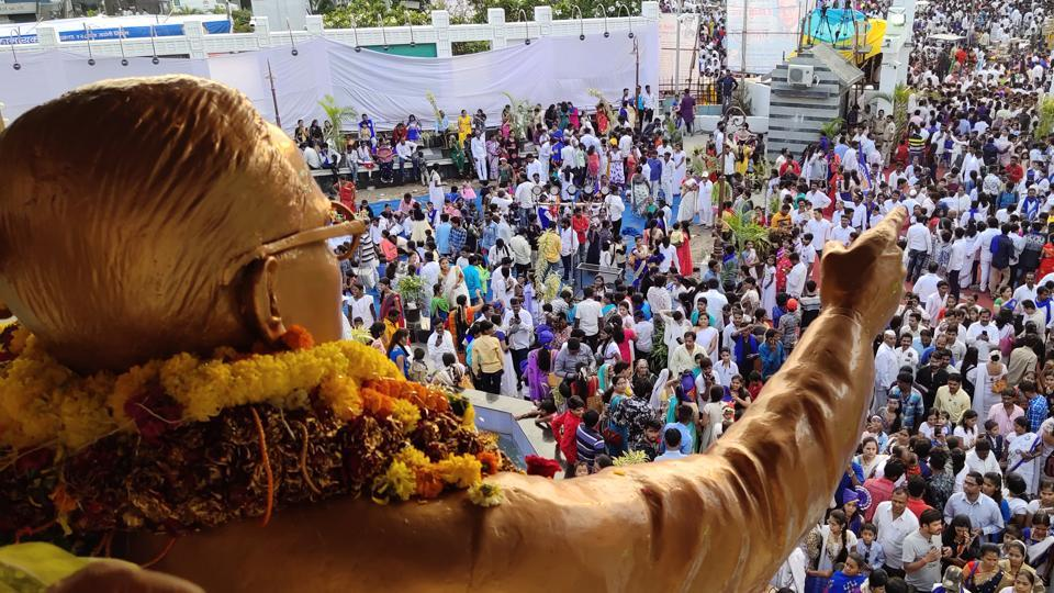 A huge crowd gathered at the Ambedkar statue in Pimpri to celebrate the 128th  birth anniversary of Babasaheb Ambedkar on Sunday. (HT PHOTO)