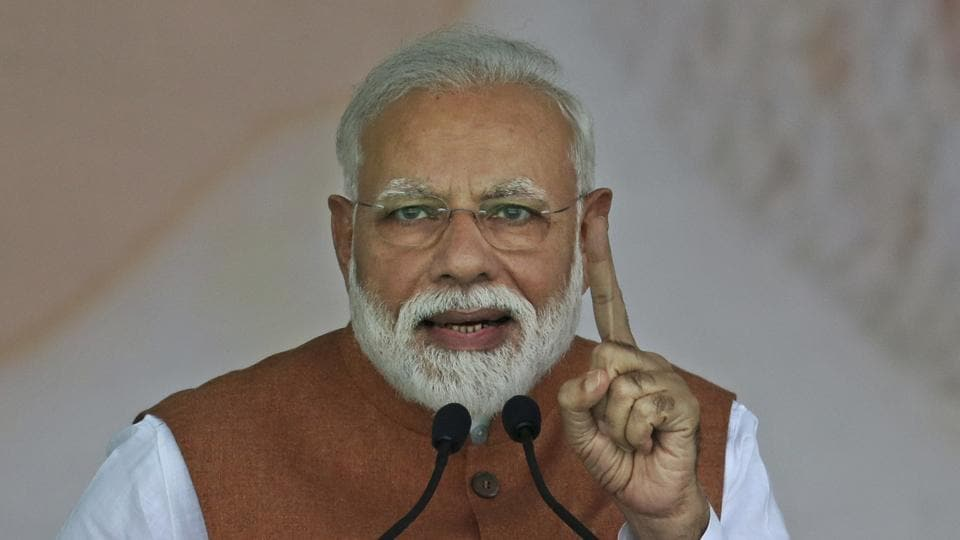 Indian Prime Minister Narendra Modi addresses an election campaign rally of his Bharatiya Janata Party (BJP) in Meerut, India, Thursday, March 28, 2019. India's general elections will be held in seven phases starting April 11. (AP Photo/Altaf Qadri)