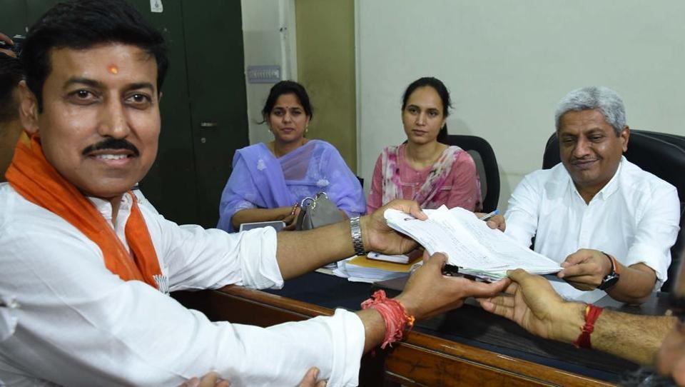 BJP candidate for Jaipur (Rural) seat Rajyavardhan Singh Rathore filing his nomination for the upcoming Lok Sabha in Jaipur on Tuesday