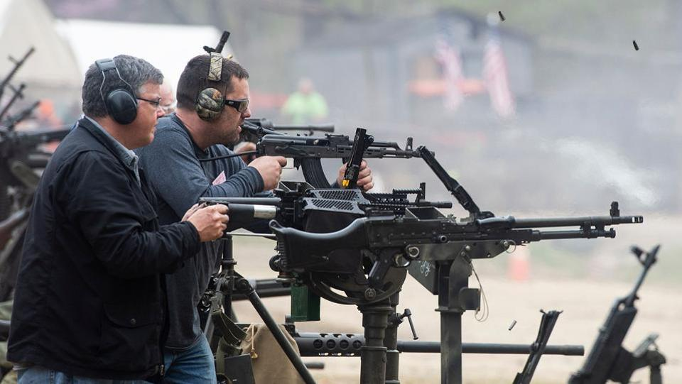 "People fire machine guns on the main firing line. ""This is a place to come compete and have fun with your buddies,"" Winters said. (Andrew Caballero-Reynolds / AFP)"