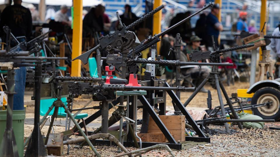 Machine guns are seen on the main firing line. General admission is $15 a day for adults and $5 for children under 12. (Andrew Caballero-Reynolds / AFP)