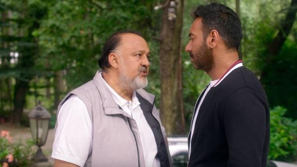 Actors Alok Nath and Ajay Devgn in a still from De De Pyaar De.