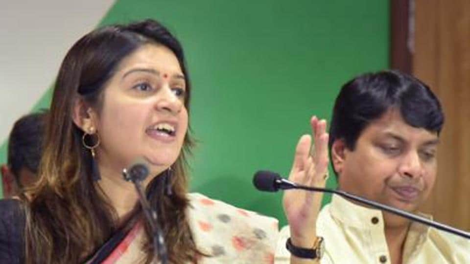 Spokesperson of Congress, Priyanka Chaturvedi, interacts with media persons at a party office