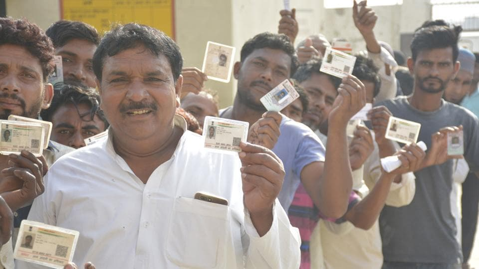 Ghaziabad, India-April 11, 2019: Voters stand in a queue to cast their votes during the first phase of the Lok Sabha elections, at Usman Ghari, Dasna, in Ghaziabad , India, on Thursday, April 11 , 2019. (Photo by Sakib Ali /Hindustan Times)