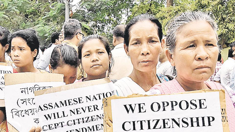Indian demonstrators hold placards during a protest against the Citizenship (Amendment) Bill 2016 proposal to provide citizenship or stay rights to minorities from Bangladesh, Pakistan and Afghanistan in India.