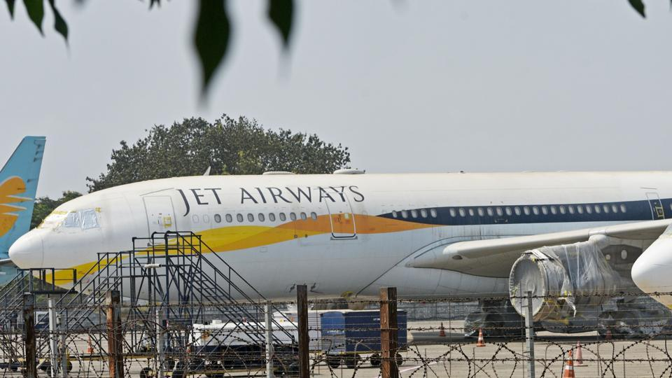 Jet Airways aircraft parked on the tarmac at Chattrapati Shivaji International Airport in Mumbai.