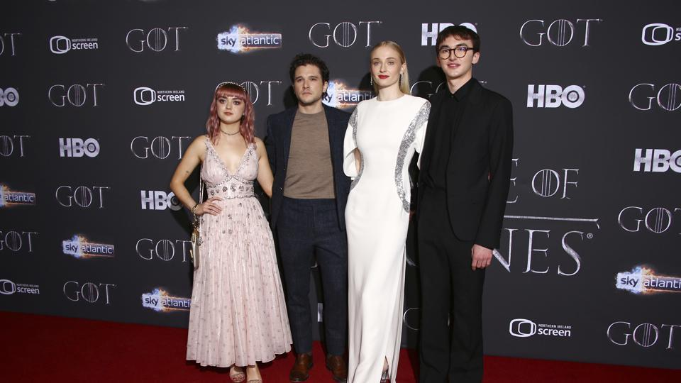 Actors Maisie Williams, from left, Kit Harington, Sophie Turner and Isaac Hempstead at the Game of Thrones season 8 premiere.