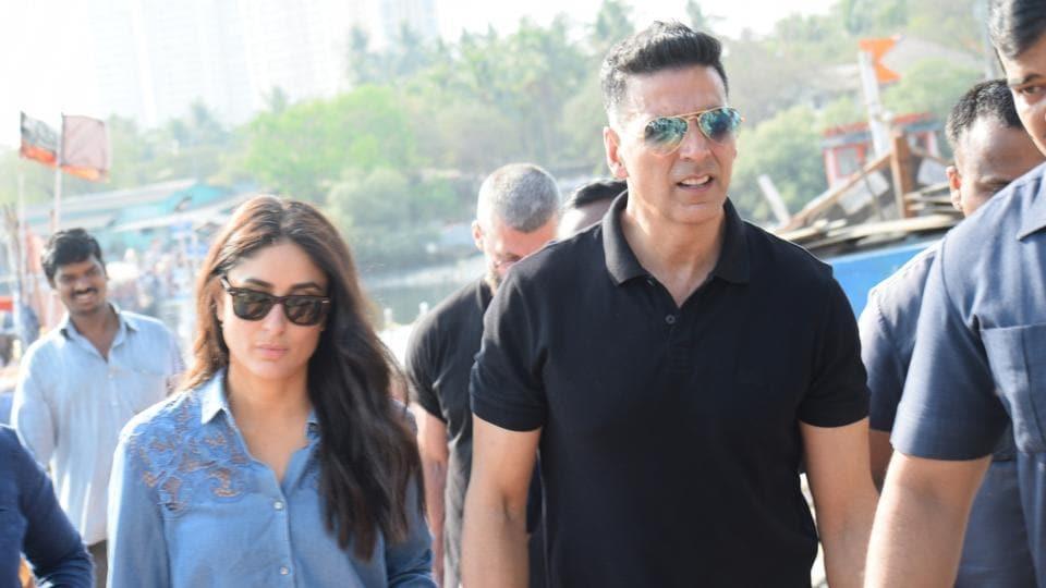 Mumbai: Actors Kareena Kapoor and Akshay Kumar seen at Madh Jetty, Mumbai on April 6, 2019. (Photo: IANS)