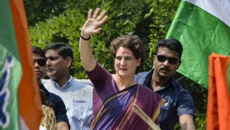 Congress General Secretary Priyanka Gandhi during a roadshow at Silchar in Assam. Silchar goes to polls on April 18.
