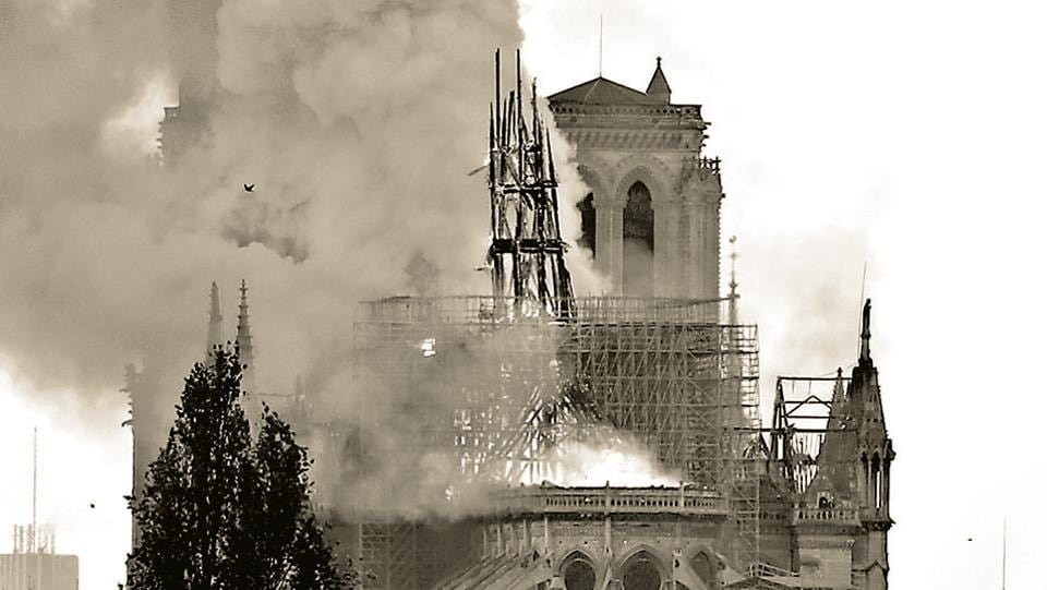 The burning spire on the roof of the Notre-Dame Cathedral, Paris, April 15. More than a church has fallen. In a way, Notre Dame is the soul of humanity itself, and a piece of that humanity has now been scarred