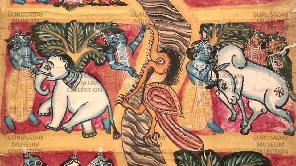 A rare patachitra at Gurusaday Museum which has the largest collection of Kalighat patachitras, a folk painting  form.