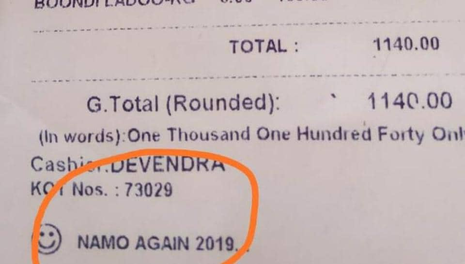 'Namo Again' on restaurant receipts in Congress bastion