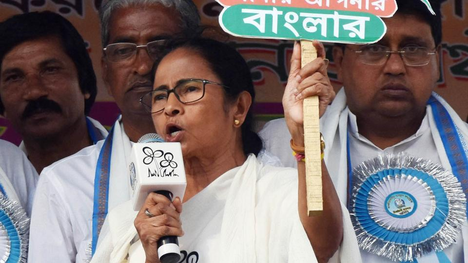 Trinamool chief and West Bengal Chief Minister Mamata Banerjee addresses an election rally at Murshidabad in West Bengal on Wednesday, April 18, 2019.