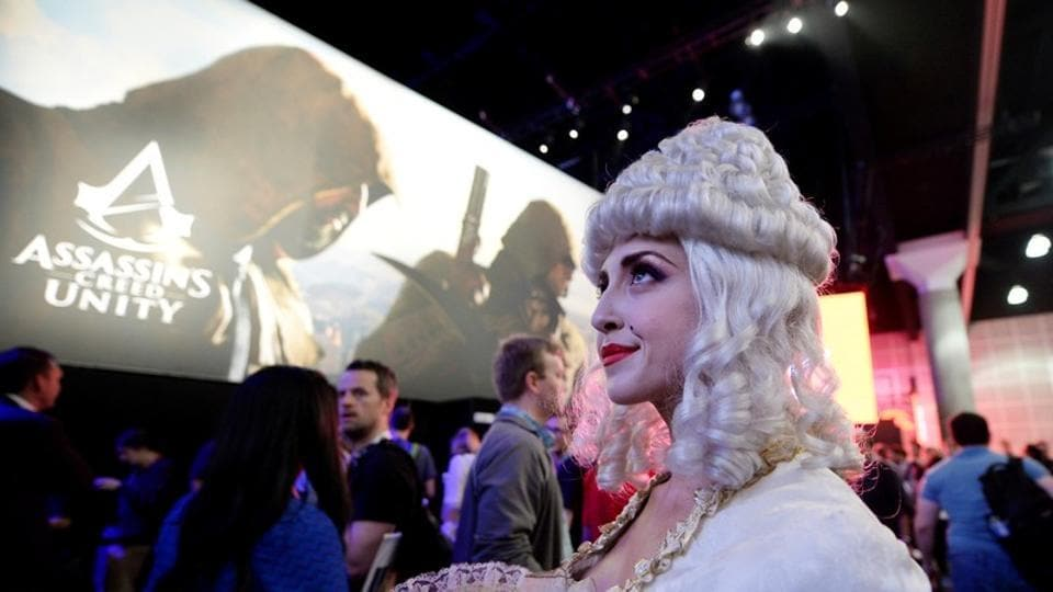 FILE PHOTO: A woman dressed as Marie Antoinette from the video game
