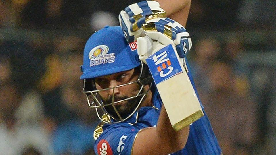 Mumbai Indians batsman Rohit Sharma plays a shot.
